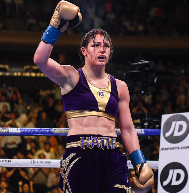 Katie Taylor salutes the crowd after her epic and controversial victory in New York on Saturday night