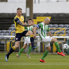 Longford's Jamie Doyle puts pressure on Bray's Paul Keegan during the Bray Wanderers v Longford Town SSE Airtricity League clash in the Carlisle Grounds. Photo: Barbara Flynn