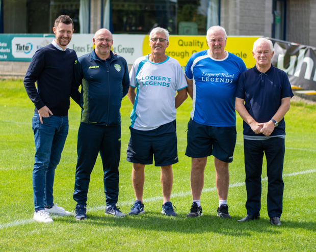 Pictured are Alan Cawley (Legends player), Cabinteely Assistant manager Eddie Gormley, Collie Philips (Locker's Legends manager), Eddie Wallace (League of Ireland Legends manager) and Cabinteely Director of Football Pat Devlin