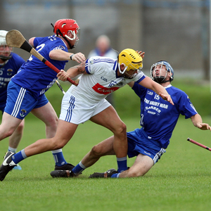 Éire Óg's Anto Byrne thunders into Christy Moorehouse of St Patrick's during the Lightning Protection Ireland Wicklow Senior Hurling Championship in Aughrim on Sunday evening