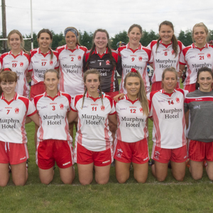 The Tinahely ladies football team ahead of their capture of their fifth county title on the trot in Blessington