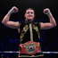 Katie Taylor celebrates following her WBO Women's Super Lightweight World title fight against Christina Linardatou