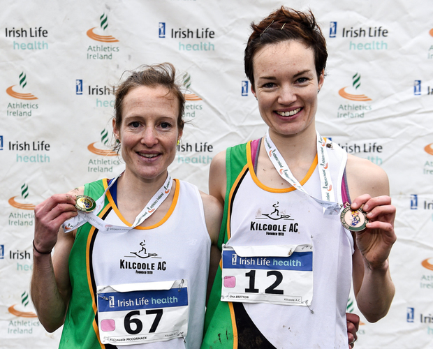 Kilcoole AC's Fionnuala McCormack and Una Britton after their sensational runs in the Irish Life Health National Cross Country Championships in Abbotstown. Photo by Sam Barnes/Sportsfile