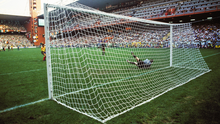 Joe Lawless was high up behind the goal for this iconic penalty save by Packie Bonner during the Ireland v. Romania game at Stadio Luigi Ferraris in Genoa in 1990