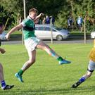 Padraig Doyle of Bray emmets scores a goal in the first half