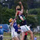 Sean O'Callaghan of St Patrick's and Padraig Doyle of Bray Emmets battle for the ball