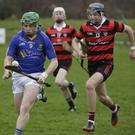 Wicklow captain Christy Moorehouse is chased by Cian O'Rian Broin.