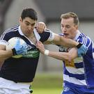Bray's Niall McGraynor tries to shake off Blessington's Stephen Bohan