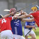 John 'Dee' O'Brien of St Patrick's is stopped in his tracks by Glenealy duo Lee Kavanagh and Jonathan O'Neill during the SHC in Joule Park, Aughrim. Picture: Garry O'Neill