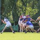 Kildare's Matthew Moran goes for goal in injury time, but there's no way through the Wicklow defence
