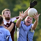 Coolboy's Daniel Nolan and Shilleagh's Raymond Murphy compete for the ball