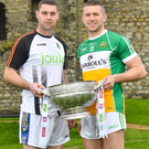 Seanie Furlong of Wicklow with Anton Sullivan of Offaly during the Launch of the 2018 Leinster Senior Football Championship at Trim Castle in Trim, Co Meath