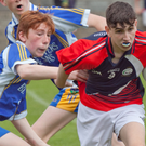 Action from the First Year football county final between Coláiste Bhríde Carnew and Coláiste Cill Mhantain