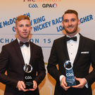Wicklow hurlers, from left, Warren Kavanagh and John Henderson, with their Christy Ring Champion 15 Awards during the PwC All Stars 2018 at the Convention Centre in Dublin