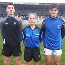 Sligo captain Joe Keaney, referee Michelle Mulvey and Wicklow captain Sam Kearney before the coin toss.
