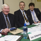 Vice-Chairman Mick Hagan, Chairman Martin Fitzgerald, county secretary Chris O'Connor, C.C.C. Chairperson (fixtures) Bridget Kenny and Central Council rep Martin Coleman at the Wicklow GAA convention
