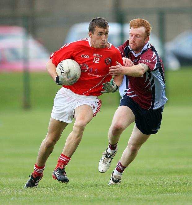 Jack Miley of Valleymount tries to shake off the attentions of Aaron Kinsella of Shillelagh/Coolboy