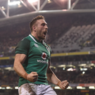 Jack Conan of Ireland celebrates after scoring his side's third try during the Guinness Series International match between Ireland and Fiji at the Aviva Stadium. Photo by Eóin Noonan/Sportsfile