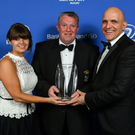 Brendan Nicholson, President, Wicklow RFC, accepts the award on behalf of Wicklow RFC for the Bank of Ireland Junior Club of the Year award, from Sharon Woods, Bank of Ireland and President of Leinster Rugby Niall Rynne.