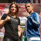 WBA & IBF World Lightweight Champion Katie Taylor, left, and Cindy Serrano square off at Quincy Market, in Boston, USA, ahead of their bout on October 20 at TD Garden in Boston