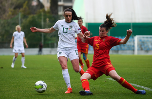 Ireland's Aine O'Gorman in action against Helena Bozic of Montenegro during a UEFA Women's 2021 European Championships Qualifier match. Photo: Sportsfile