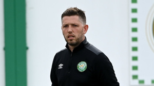 Bray Wanderers manager Gary Cronin walks to the pitch ahead of the game. Photo by Harry Murphy/Sportsfile