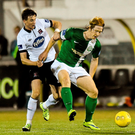 Hugh Douglas, Bray Wanderers, in action against Ronan Finn, Dundalk