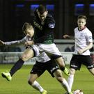 Aaron Greene of Bray Wanderers battles for possession with David Cawley of Galway United