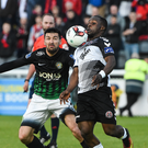 Fuad Sule of Bohemians in action against Jason Marks of Bray Wanderers during the SSE Airtricity League Premier Division match between Bray Wanderers and Bohemians at the Carlisle Grounds.