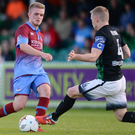 Jack Bayly of Drogheda United in action against Conor Kenna of Bray Wanderers
