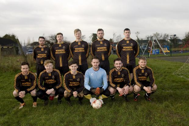 Carnew AFC before the Jim McLaughlin Premier Trophy quarter-final