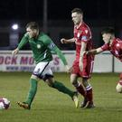 Ger Pender on the ball for Bray Wanderers in the EA Sports Cup tie against Shelbourne