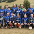 Glencormac United legends with Bobby's family at the Bobby Messett Memorial Match at Ryder's Field, Glencormac