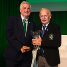 Jimmy Mooney, Wicklow Branch referee, receives his John Sherlock Services to Football Award from FAI President Tony Fitzgerald at the FAI Delegates Dinner and FAI Communications Awards at the Rochestown Park Hotel in Cork. Photo: Stephen McCarthy/Sportsfile