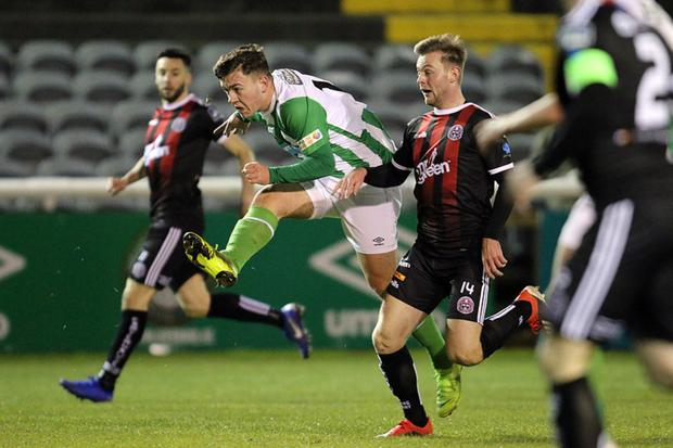 Jake Ellis of Bray Wanderers fires in a shot on goal