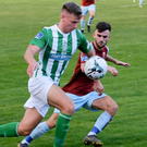 Joe Doyle of Bray Wanderers tries to get past Kevin Taylor of Cobh Ramblers