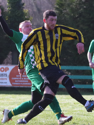 Killian O'Carroll scores St Peter's first goal against Arklow Celtic in the Andy McEvoy Premier Division