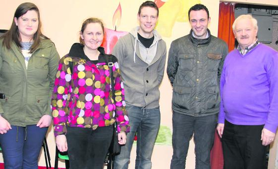 Winners of the Instrumental Music the Buttevant team L-R Ann Barrett, Maread Fitzgibbons, Jer Naughton, and Alan Finn