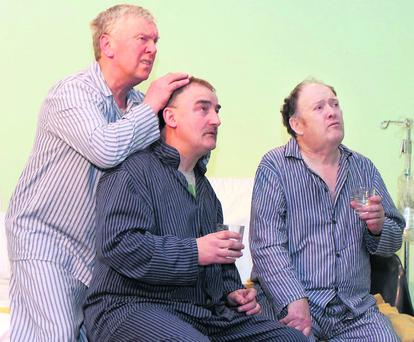 Denis O'Connell, Jimmy Noonan and Tadhg O'Keeffe in a scene from the Banteer Drama Group's production of the hilarious comedy ''Stop It Nurse'. Photo: Patrick Casey