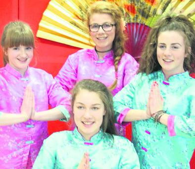 Ella, Jane, Emily and Cait in rehearsal for Miss Saigon in Mallow.