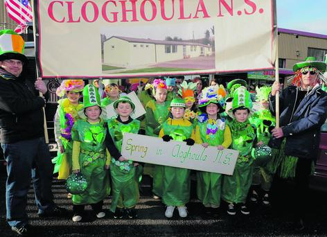 Cloughoula National School Children enjoying their participation in the the St Patrick's Day Parade in Millstreet. Photo: John Tarrant