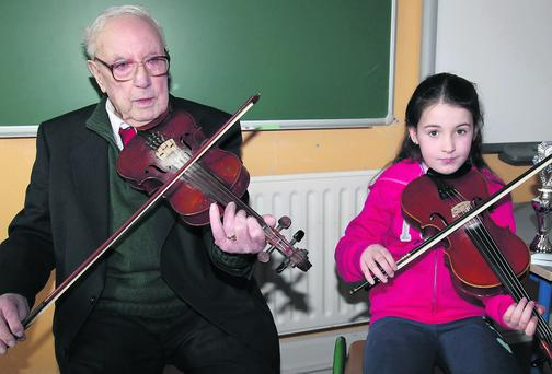 Maurice O Keeffe at Kiskeam National School on Easter Saturday. Photo by Sheila Fitzgerald.
