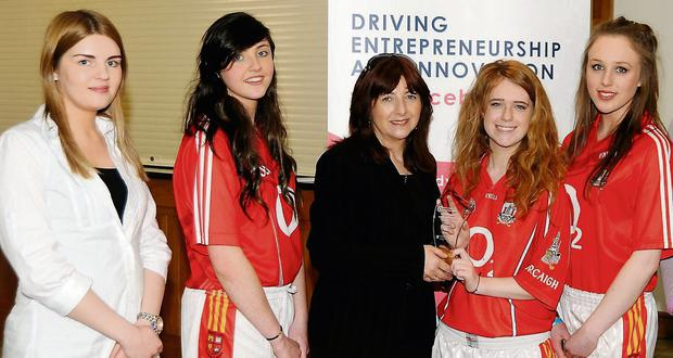 Kate Nyhan, Claire Long and Rita Doherty and teacher Claire Dineen (left).