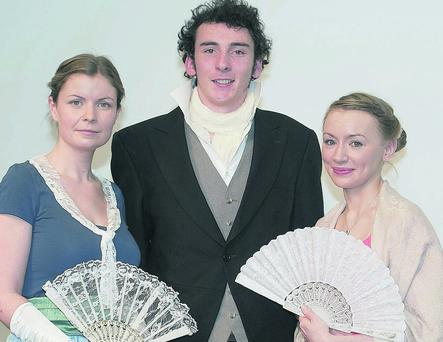 Performers at the County Library Headquarters celebrating the centenary of the publication of Pride and Prejudice (left to right): Paula Lynch, Alan Martin and Irene Kelleher.