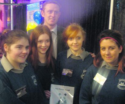 McEgan Transition Year students who took part in the A.I.B 'Build a Bank Challenge' in Silver Springs Hotel last Tuesday. Catriona O'Donoghue, Shelia Twomey, Colm Cooper, Aisling O'Driscoll and Shannon Dolan Burke. Photo: McEgan College.