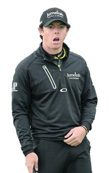 Rory McIlroy shows his amazement at a missed putt during the 2012 Irish Open Golf Championship. Photo: Oliver McVeigh / SPORTSFILE