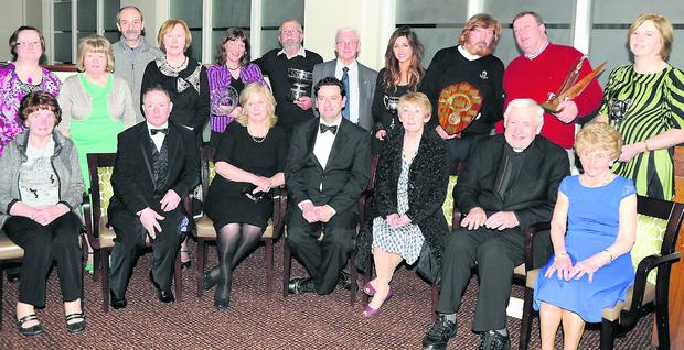 Members of the winning groups in the North Cork Drama Festivalin Charleville pictured with adjudicator Donal Courtney.