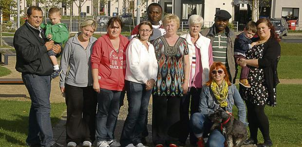 Sheila Thorton, Chairperson of the Community Council, with some of the residents of Gouldshill estate.