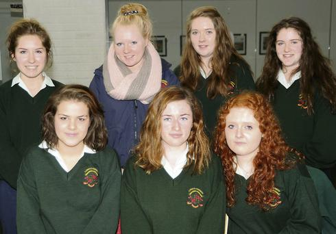 Loreto Convent, Fermoy students, standing; Aoife Gowan, Niamh Sheehan, Marie Sheehan and Niamh Dooling. Seated: Edwarda Ramos, Shannon Fitzgerald and Maria Connell.