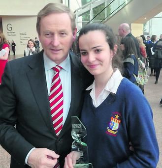 St Mary's Secondary School student, Eimear O'Shea who was presented with the Press Pass Features Writing Award by the Taoiseach Enda Kenny this week. Photo: St Mary's, Macroom.